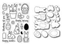 Memory Box Open Studio Stamps & Dies Bundle - Springtime Bunnies