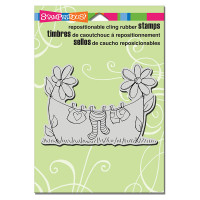 Stampendous Cling Rubber  Stamps - Clothesline