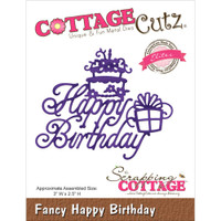 CottageCutz Elites Die - Fancy Happy Birthday