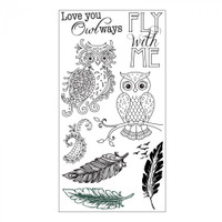 Sizzix Clear Stamps by Jen Long - Owl & Feathers