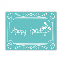 Sizzix Textured Impressions Embossing Folder by Rachael Bright - Phrase, Happy Holidays