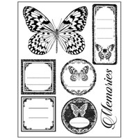 Stamperia High Definition Rubber Stamp - Tags and butterflies