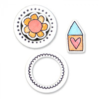 Sizzix Framelits Die Set 4PK w/Stamps - Circles & Icons, Flower & House by Stephanie Ackerman