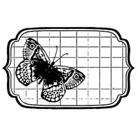 Stamperia High Definition Rubber Stamp -  Tag with butterfly