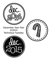 Technique Tuesday Clear Stamps 2X2.5 - December Year Flair