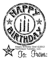 Technique Tuesday Clear Stamps 2X2.5 - Happy Birthday Seal