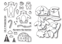 Memory Box Poppystamps Dies and Clear Stamps  Set  - Wintertime Bears