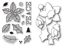 Memory Box Poppystamps Dies and Clear Stamps  Set  - Poinsettia Peace Clear