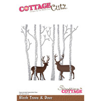 CottageCutz Die - Birch Trees & Deer