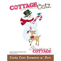 CottageCutz Die - Candy Cane Snowman With Deer