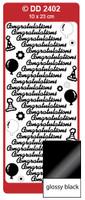 Doodey Peel Off Stickers -  Congratulations  (Glossy Black)