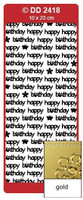 Doodey Peel Off Stickers -  Happy Birthday (Modern)  (Gold)