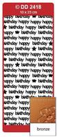 Doodey Peel Off Stickers -  Happy Birthday (Modern)  (Bronze)