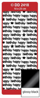 Doodey Peel Off Stickers -  Happy Birthday (Modern)  (Glossy Black)