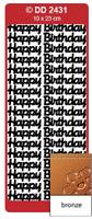 Doodey Peel Off Stickers -  Happy Birthday (Large)  (Bronze)