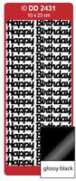 Doodey Peel Off Stickers -  Happy Birthday (Large)  (Glossy Black)