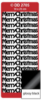 Doodey Peel Off Stickers -  Merry Christmas  (Glossy Black)