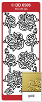 Doodey Peel Off Stickers -  Roses Various  (Gold)