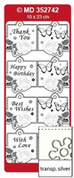 Doodey Mini Card Stickers - Square Tags With Butterflies (Transparent Silver)