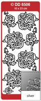Doodey Peel Off Stickers  -  Roses Various  (Silver)