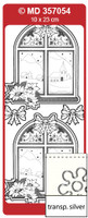 Doodey Peel Off Stickers - Window With Poinsetta (Transparent Silver)