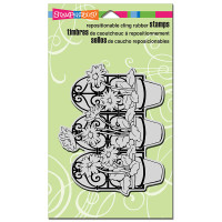 Stampendous Cling Rubber Stamp - Daisy Pot Trio