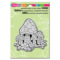 Stampendous Cling Rubber Stamp - Mosaic Mushrooms