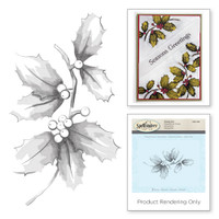 Spellbinders Stamps - Holiday 3D Shading Stamps - Holly and Berries