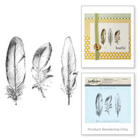 (Not Part of the Sale) Spellbinders Stamps - Holiday 3D Shading Stamps - Feathers