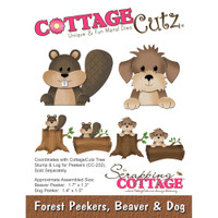 CottageCutz Die - Forest Peekers: Beaver & Dog