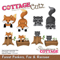 CottageCutz Die - Forest Peekers: Fox & Raccoon