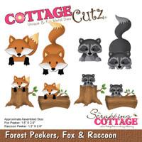 CottageCutz Die - Forest Peekers: Fox & Raccoon