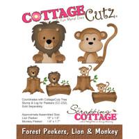 CottageCutz Die - Forest Peekers: Lion & Monkey