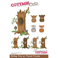 CottageCutz Die - Hollow Tree w/ Forest Friends