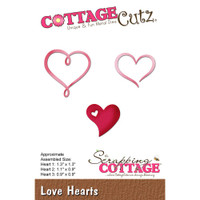 CottageCutz Die - Love Hearts