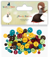 doCrafts Kori Kumi by Santoro  Plastic Buttons 100/Pkg - Assorted Colors