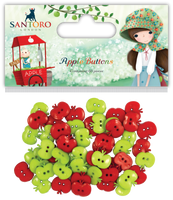 Kori Kumi by Santoro  Plastic Buttons 60/Pkg - Apple