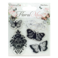 Trimcraft Dovecraft Floral Muse Collection - Butterflies Clear Stamps