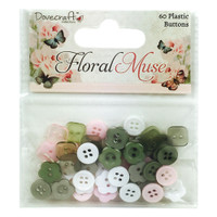 Trimcraft Dovecraft Floral Muse Collection - 60 Plastic Buttons
