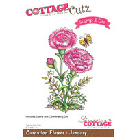 CottageCutz Stamp & Die Set - Carnation - January