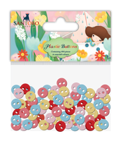 doCrafts Kori Kumi by Santoro  Plastic Buttons 100/Pkg,  Assorted Colors - Dreamboat