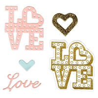 Sizzix Framelits Die by Lindsey Serata Set 4PK w/Stamps - Love in Lights