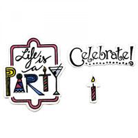 Sizzix Framelits Die by Lindsey Serata Set 8PK w/Stamps - Celebrate #2