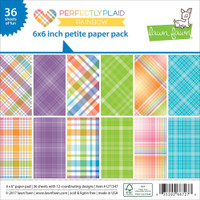 "Lawn Fawn Petite Paper Pack 6""X6"" 36/Pkg - Perfectly Plaid Rainbow"
