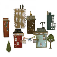 Sizzix Thinlits Cityscape Die Set by Tim Holtz,34PK - Suburbia