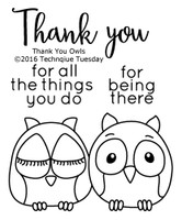 Technique Tuesday Clear Stamps 2X2.5 - Thank You Owl