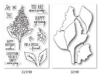 Memory Box Open Studio Stamps & Die Set - Spring Lilacs