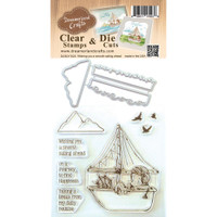 Dreamerland Crafts Clear Stamp & Die Set 4X4 - Wishing You A Smooth Sailing Ahead