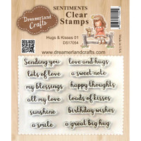 Dreamerland Crafts Clear Stamp Set 3X4 - Hugs & Kisses 01