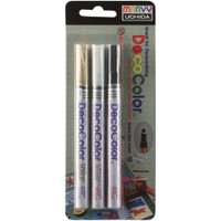 Marvy Uchida DecoColor Extra Fine Tip Marker 3/Pkg - Gold/White/Black
